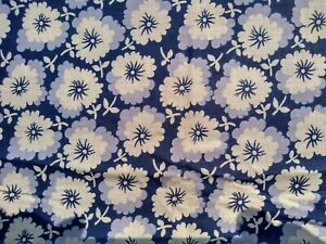 "Vintage Blue Lavender White Floral Cotton Fabric  36"" x 164""  SWEET D"