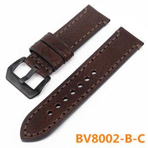 Watch Bands Cowhide Genuine Leather Wristwatch Straps Watch Parts Brown 22 24mm