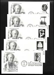 US FDC 2004 Isamu Noguchi Sculptor 5 Covers by Artcraft Scott 3857-61 |