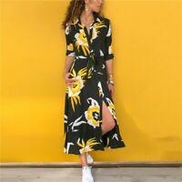 Long Dress Women Floral Print Summer Beach Chiffon Dresses Bohemian Long Sleeve