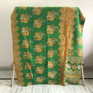 Vintage Kantha Bedding Bedspread Quilt Coverlet Indian Reversible Blanket Throw