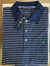 NWT RALPH LAUREN Blue Stripe mens golf Polo Shirt s/s M NETJETS Sleeve Logo NEW