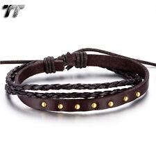 Quality TT Brown Genuine Leather Gold Stud Bracelet Wristband (LB306H) NEW