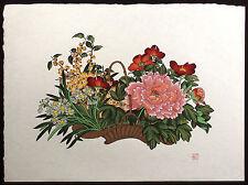 """An-Li Han """"Flower Basket"""" Signed Numbered Serigraph, japon paper, floral, peony"""