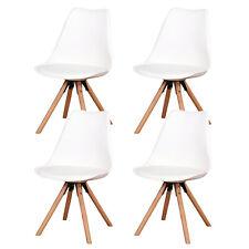 4er Set Esszimmerstühle Wohnzimmerstuhl Küchenstuhl Stühle aus Massiv-Holz Weiß