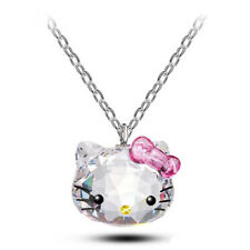 Pink and Clear Crystal Necklace Hello Kitty Pendant Necklace