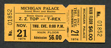 1974 ZZ Top T Rex Unused Concert Ticket Michigan Palace Tres Hombres Bang A Gong