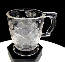 """EAPG BRYCE BROTHERS #1203 ROBIN IN A TREE CLEAR PATTERN GLASS 3 3/4"""" MUG 1880's"""