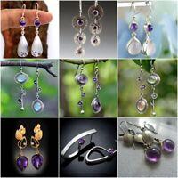 Elegant 925 Silver Moonstone Amethyst Long Dangle Drop Earrings Wedding Jewelry