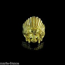 Massive man's yellow gold ring, Indian chief, feather headdress, sz 10 M-F