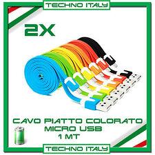 2X Cavo Dati PIATTO MICRO USB - PER SAMSUNG S3-S4-S5, HTC, NOKIA, LG ETC
