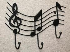Black WROUGHT IRON Music Staff Wall Hook Hanger Notes Treble Coat Rack Decor Art