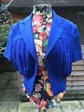Chic Cobald Blue Silk Short Designer Jacket By SteveJ & YoniP, SZ10-12