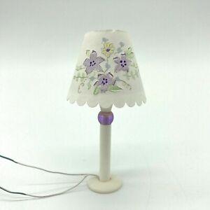 Vintage 1:12 Dollhouse Electric Lamp Lavender Purple Floral Flower Miniature NR
