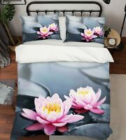 3D Pink Lotus Floral Quilt Cover Set Pillowcases Duvet Cover 3pcs Bedding
