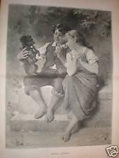 Fido's Lesson Emile Munier children puppy print 1885