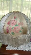 Rare Vintage Victorian Large Lamp shade Lampshade with Fringe Brocade Silk Oval