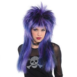 Purple Rock Star 80s Spiky Punk Long Fancy Dress Wig Women Halloween Party Glam