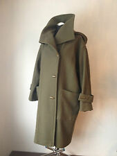 Excel MARIMEKKO Virgin Wool Cocoon Coat Jacket Pocket Hood Green Oversize Sz.XL