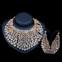 Fashion Austrian Crystal Pendant Necklace Earring Bridal Prom Party Wedding Sets