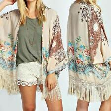 Women Boho Chiffon Floral Tassels Loose Kimono Cardigan Jacket Blouse Cover Tops