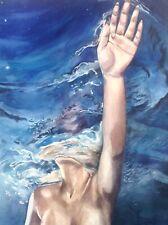 Nude Female Art Original Erotic Pinup Painting Underwater Swimming Sexy Water