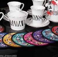 WHOLESALE 5SET/10PCS CHINESE HANDMADE silk Embroiderd cup-mats pads coasters