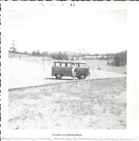 VTG 1957 B&W Snapshot Photo Woman Standing In Front of Volkswagen VW Bus Van