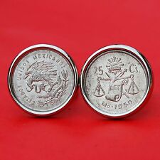 1950 Mexico 25 Centavos Silver Coins Eagle Snake Scale Liberty Cap Cufflinks NEW