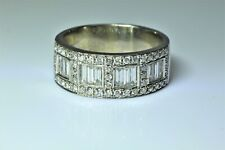14K White Gold Baguette Round Diamond Ring Wide Band