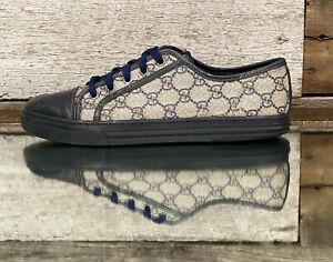 Men's Gucci California GG Supreme Canvas/Blue Leather Sneakers US sz 7.5
