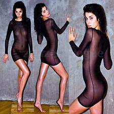 Women Long Sleeve Sheer Mesh Bodycon Mini Sun Dress Lingerie Underwear Club Tops