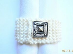 Handmade Knit Stretch Cuff Bracelet, Cream Acrylic Yarn, Pewter Square