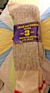 Vintage Canada Winter Wool Blend Boot Socks Ski Hanson Mohawk Quebec 1970s sz 11