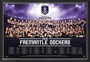 2016 AFL Official Fremantle Dockers Team Print Framed - David Mundy Nat Fyfe