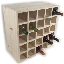 Wooden Wine Rack Storage Holder / 25 Bottle Capacity / Natural Pine To Decorate