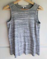 Athleta Womens Gray White Spacedye Ribbed Tank Top Shirt Size XS Sleeveless Yoga