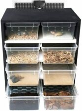 New Listing4Tier Reptile Breeding Tank Cabinet With Insect/Turtle Cage Pet Feeding Box