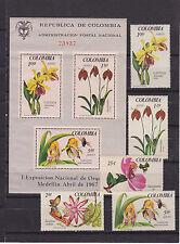 colombia 1967 Sc 768/9,C489/91,C491a set MNH orchids        j1399