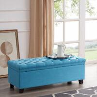 "48"" Rectangular Lift Top Laguna Button Tufted Fabric Storage Ottoman Bench, Blue"