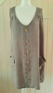 MADE IN ITALY 100% LINO GREY LINEN BUTTON & POCKET TUNIC DRESS M PLUS SIZE 22