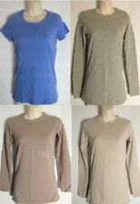 4 x PLAIN Stretchy Long Sleeve Base Layer Top Size 10 Beige Blue Grey Marl Mink