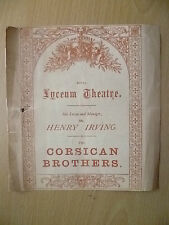 1880 Royal Lyceum Theatre- Mr. Henry Irving's CORSICAN BROTHERS~Dion Boucicault