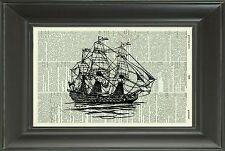 ORIGINAL - British War Ship - Vintage Dictionary Art Print - Boat Picture NO.32D