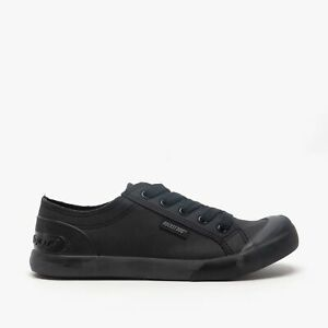 Rocket Dog JAZZIN Fable Ladies Casual Canvas Lace-Up Trainer School Shoes Black