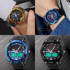 Men Male Solar Power Sport Dual Time LED Digital Waterproof Analog Quartz Watch