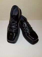 Calvin Klein Collection Runway Blk Patent Leather Sq Toe Laced Shoe Eu 45/US 12