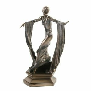 Art Deco Bronze Sculpture 1920's Dancing Lady With Shawl in Both Hands - A
