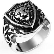 Vintage Black Silver Stainless Steel Gothic Biker Men's Lion Shield Wedding Ring