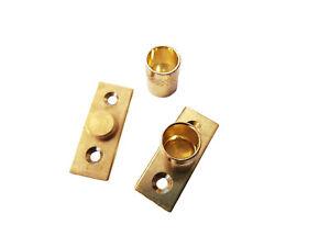 2 Brass Curtain Rod Recess Brackets 10mm Pole Support Brackets Net Voile Socket